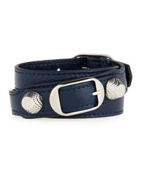 Balenciaga | Blue Giant 12 Leather Wrap Bracelet for Men | Lyst
