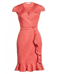 Matthew Williamson | Pink Animal Jacquard Ruffle Wrap Dress | Lyst