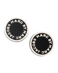 Marc By Marc Jacobs | Black Enamel Logo Disc Stud Earr | Lyst