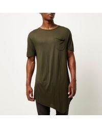 River Island - Dark Green Draped Asymmetric Longline T-shirt for Men - Lyst