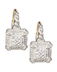 Judith Ripka | Small Linen White Sapphire Cushion Earrings | Lyst