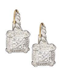 Judith Ripka - Small Linen White Sapphire Cushion Earrings - Lyst