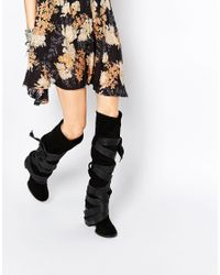 Free People | Paradiso Black Suede Wrap Knee Boots | Lyst