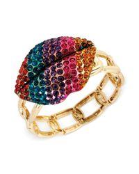 Betsey Johnson - Multicolored Lips Stretch Bracelet - Lyst
