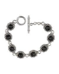 Konstantino | Black Silver Link Bracelet W/ 8 Square Onyx Stations | Lyst