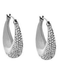 Michael Kors | Metallic Pavé Hoop Earrings | Lyst