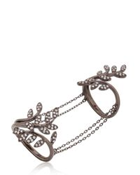 Joelle Jewellery - Black Leaf Ring With Chains - Lyst