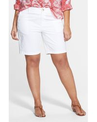 Sejour | White 'addison' Stretch Twill Bermuda Shorts | Lyst