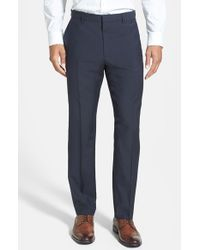 HUGO | Blue 'hamen' Flat Front Wool Trousers for Men | Lyst