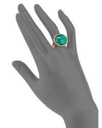 KALAN by Suzanne Kalan - Green Onyx, White Quartz & 14K Yellow Gold Filigree Doublet Cocktail Ring - Lyst
