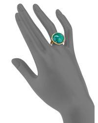KALAN by Suzanne Kalan | Green Onyx, White Quartz & 14K Yellow Gold Filigree Doublet Cocktail Ring | Lyst