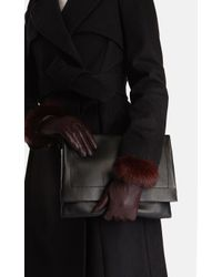 Karen Millen | Purple Fur Trim Glove | Lyst