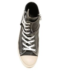Miharayasuhiro | Black Crackled Leather High Top Sneakers | Lyst