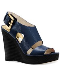 Michael Kors | Blue Michael Carla Platform Wedge Sandals | Lyst