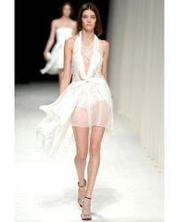 Nina Ricci | White Lace and Silk Muslin Halter Neck Dress | Lyst