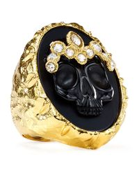 Alexis Bittar | Metallic Elements Black Agate Skull Cameo Ring | Lyst