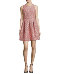 Trina Turk - Multicolor Sleeveless Petal Jacquard Shift Dress - Lyst