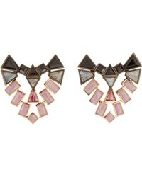 Nak Armstrong - Natural Mixed-gemstone Shield Stud Earrings - Lyst
