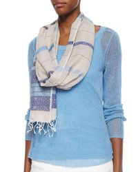 Eileen Fisher - Blue Jacquard Linen Borders Scarf - Lyst