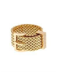 Aurelie Bidermann - Metallic Diamond & Yellow-Gold Belt Ring - Lyst