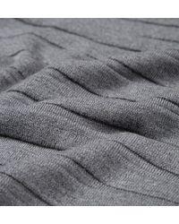 Sunspel - Gray Men's Fine Merino Jumper With Textured Stripe In Mid Grey Melange for Men - Lyst