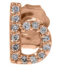 KC Designs | Pink Rose Gold Diamond B Single Stud Earring | Lyst