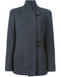 Giorgio Armani - Gray Stand-Collar Stretch-Wool Jacket  - Lyst