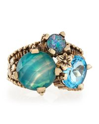 Stephen Dweck - Metallic Popcorn Blue Topaz Agate Opal Mosaic Ring - Lyst