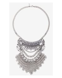 Express - Metallic Layered Stone And Chain Mail Bib Necklace - Lyst