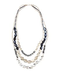 Lydell NYC | Metallic Silvertone Layered Triple-strand Gray Crystal Necklace | Lyst