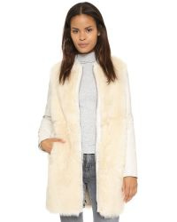 Vince - Natural Leather & Shearling Coat - Lyst