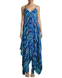 Karina Grimaldi | Blue Irene Sleeveless Geometric-print Dress | Lyst