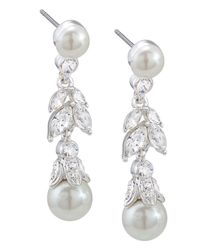 Carolee - White Glass Pearl And Floral Linear Drop Earrings - Lyst