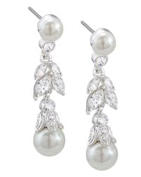 Carolee | White Glass Pearl And Floral Linear Drop Earrings | Lyst