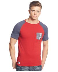 Armani Jeans | Red Colorblocked T-shirt for Men | Lyst