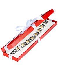 Macy's - Metallic Men's Diamond Bracelet In Stainless Steel And 18k Gold (1/5 Ct. T.w.) - Lyst