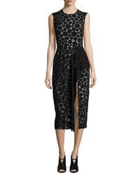 Cushnie et Ochs - Black Dot-print Ruffled Slit Dress - Lyst