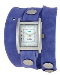La Mer Collections | Purple Washed Leather Wrap Watch | Lyst