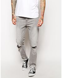 ASOS - Gray Slim Jeans In Grey Wash With Rip for Men - Lyst