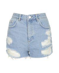 TOPSHOP - Blue Moto Bleach Ripped Mom Shorts - Lyst