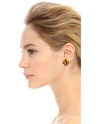 Venessa Arizaga | Road Signs Earrings - Red/Yellow | Lyst