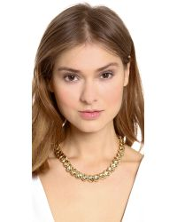 Lee Angel | Metallic Textured Leaf Chain Necklace | Lyst