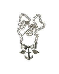 Femme Metale Jewelry | Metallic Bow With Anchor Necklace | Lyst