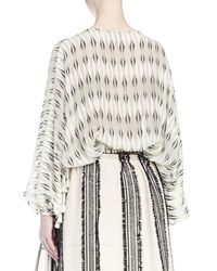 Lanvin - Natural Long-sleeve Printed Silk Blouse - Lyst