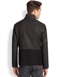 Armani - Black Leather & Wool Guru Jacket for Men - Lyst
