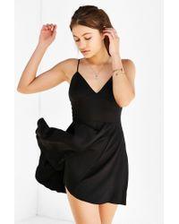 Silence + Noise - Black Buffy Sateen Fit + Flare Dress - Lyst