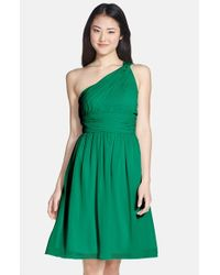 Donna Morgan | Green 'rhea' One-shoulder Chiffon Dress | Lyst