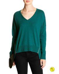 Banana Republic | Green Factory Hi-lo Zipper-seam Sweater | Lyst