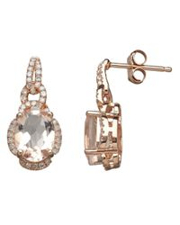 Lord & Taylor | Pink 14k Rose Gold Morganite And Diamond Earrings | Lyst