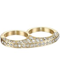Guess - Metallic Two Finger Pave Ring - Lyst